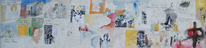 2012, mixed media on canvas mounted on wood, 48 x 200 cm